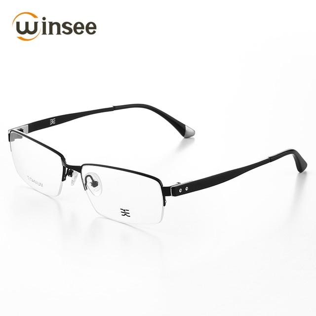 Winsee Pure Titanium Frame Men Half Frame Glasses Frame Business ...