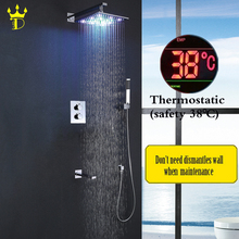 DISGOD Bathroom Rainfall Shower Faucet Set Chrome Panel 8 10 12 Inch Colorful Brass LED Shower Head Waterfall Bath Mixer yanksmart waterfall bath shower 8 10 12 16new bathroom led rainfall panel wall mounted message shower set with hand spray