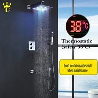 DISGOD Bathroom Rainfall Shower Faucet Set Chrome Panel 8 10 12 Inch Colorful Brass LED Shower Head Waterfall Bath Mixer