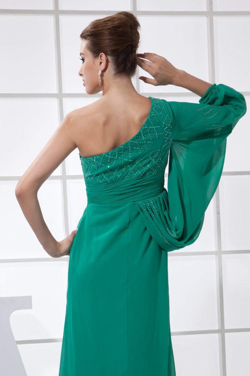 Сексуальное зеленое платье на одно плечо шифон длинный Выпускной 2019 Новое поступление халат de soiree вечерние платья - 5