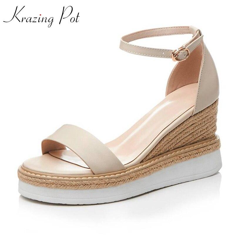 Ayakk.'ten Yüksek Topuklular'de Krazing pot 2019 inek deri hasır ayak bileği sapanlar kama kalın alt parti plaj ayakkabısı yaz alışveriş kadın artan sandalet L33'da  Grup 1