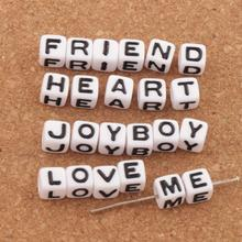 160pcs 7mm White Cube 26 Alphabet Letter Acrylic Spacer Beads Spacers Jewelry DIY L3028
