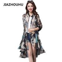2017 Korean Floral Print Casual Chiffon Blouse Long Women Tops Summer Loose Sunscreen Beach Tunic Cardigan