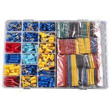 Комплект термоусадочных трубок для автомобильных проводов, 558 шт., электрические клеммы, обжимные соединители в пластиковой коробке
