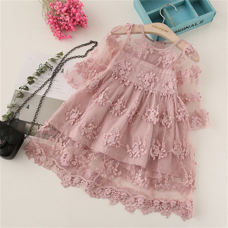 BibiCola Summer Girl Clothes Kids Dresses For Girls Lace Flower Dress Baby Girl Party title=