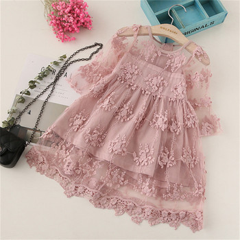 BibiCola Summer Girl Clothes Kids Dresses For Girls Lace Flower Dress Baby Girl Party Wedding Dress Children Girl Princess Dress