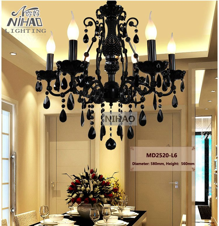 Small Vintage Black 6 Arms Crystal Chandelier Light Fixture Princess American Wrought Iron Lustre Suspension Hanging Light