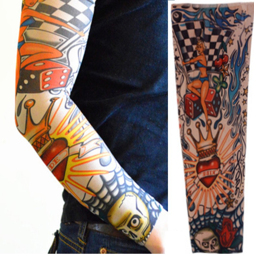 1Pcs Body Stickers Cool Temporary Tattoo Sleeves Nylon Striped Stockings Elastic Arm Tattoo Sleeve Men Women Fake Tatoo Sleeves