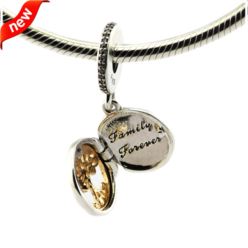 aa925ae3b ... DIY Fits Pandora Bracelets Family Roots Charms With 14K Real Gold Tree  100% 925 Sterling ...