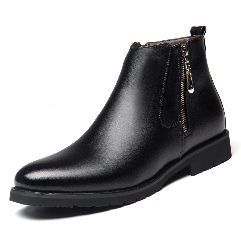 Winter Men's Leather Ankle Boots Fashion Genuine Leather Martin Boots British Casual Side Zipper Thermal Plush Male Shoes Black martin new winter with thick british style short canister female fall side zipper boots