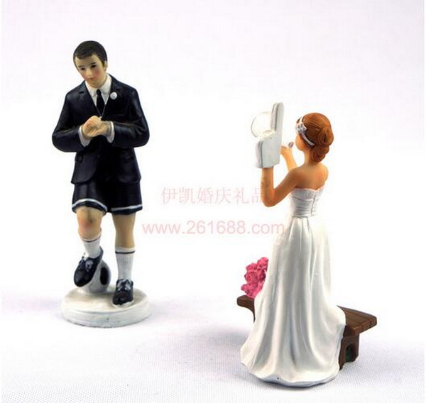football wedding cake topper 50pcs lot football groom and 14401