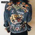Mulheres Borboleta Flor Pássaro Padrão Animal Do Tigre Bordado Denim Jacket Turn Down Gola do Casaco Outwear YN-4338