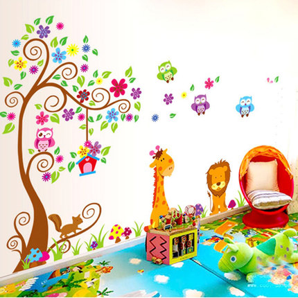 Giraffe lion owl colorful tree wall stickers for kids room animal wall decal cartoon wall art