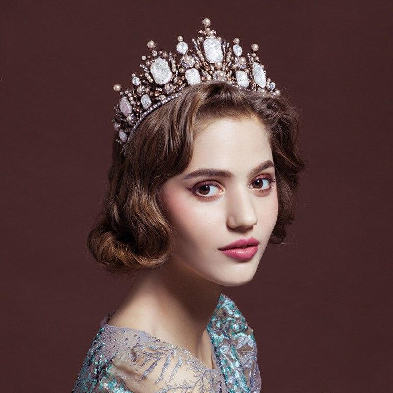 Two styles Crystal Beads Bridal Crown Trendy Headpiece Handmade Tiara Black Gold Tiara Wedding Hair Accessories Bridal Headband
