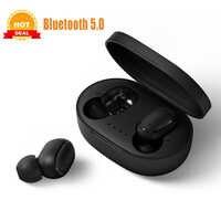 TWS bezprzewodowe słuchawki Bluetooth PK czerwone mi Airdots wodoodporne stereo Bluetooth 5.0 słuchawki douszne z mikrofonem zestaw głośnomówiący PK mi słuchawki sportowe