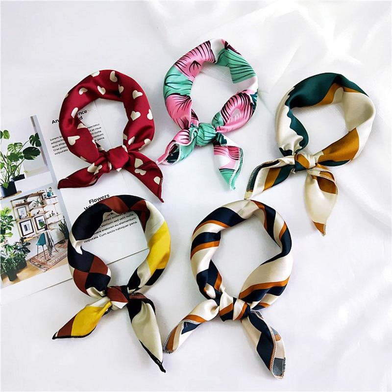 50X50CM Fashion Women Square Scarf All-match Wraps Elegant Floral Dot Spring Summer Head Neck Hair Tie Band Neckerchief