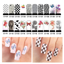 5pcs Hot Water Transfer Nail Art Stickers Flowers Bow Design Manicure Decoration Tools Full Cover Nail Wraps Decals (C1 series)