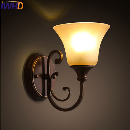 IWHD Glass LED Wall Lamp Home Lighting Retro Loft Vintage Industrial Wall Light For Home Iron Wandlamp Luminaire on the wall bammax fishing lure 1 box metal iron hard bait sequins shore jigging spoon lures fishing connector pin fishing accessories pesca