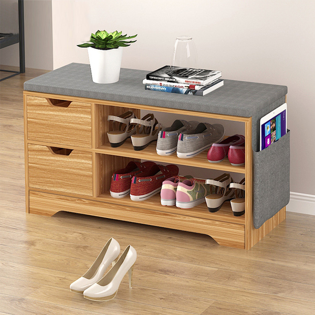 Household Modern Shoes Storage Rack Stool With Padded Seat Living Room  Convenient Shoebox Cabinet Shoes Organizer