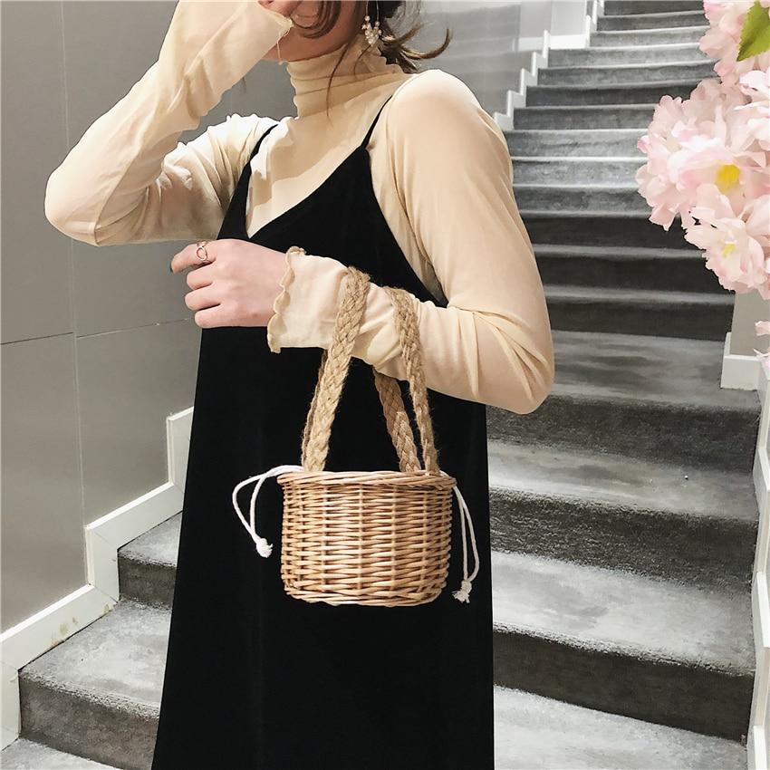 Fashion Handmade Rattan Straw Bucket Handbag Small Summer Beach Bags for Women Luxury Handbags Women Bags Designer Borsa Mare