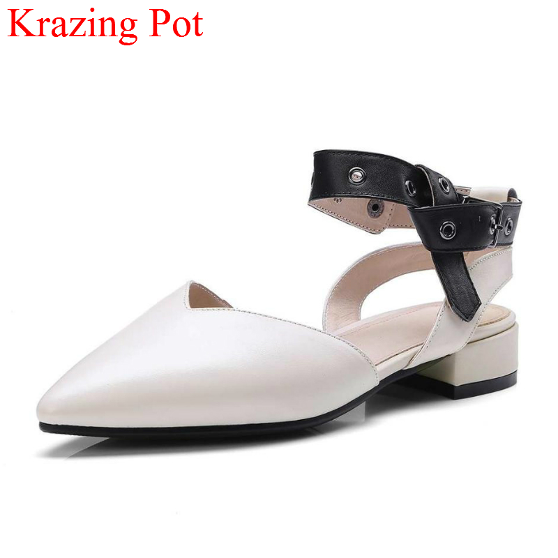 2018 Genuine Leather Metal Decoration Pointed Toe Ankle Strap Shoes Cross Tied Thick Heels Office Lady Concise Women Pumps L63 new genuine leather superstar solid thick heel zipper gladiator women pumps pointed toe office lady nude runway casual shoes l88