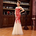 2016 Fashion 3D Lace Strapless Long Evening Dress Chinese Wedding Qipao Cheongsam Womens Dresses Party Gown Free Shipping