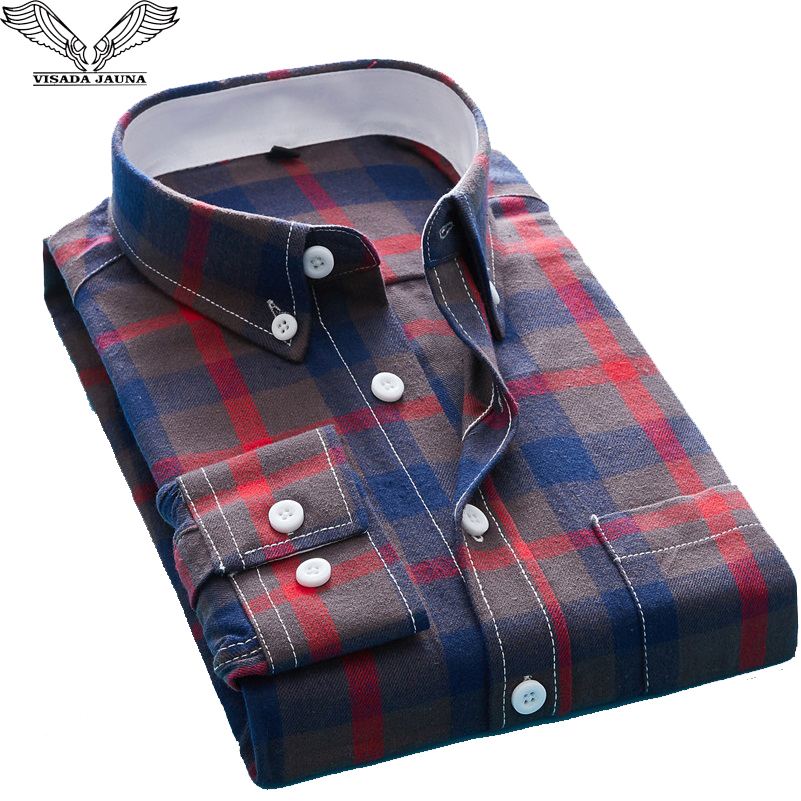 VISADA JAUNA 2018 New Fall Men Shirt Fit Slim Casual Long Sleeve Fashion Four Color Plaid Homme Camisas Plus Size M-5XL N8968