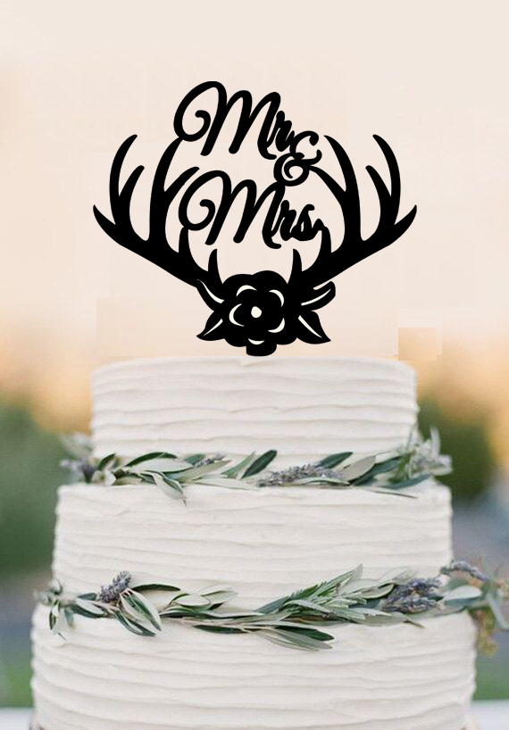 Wedding Cake Topper Tanduk Rusa Mr Mrs Puncak Kue Mawar Bunga Kue
