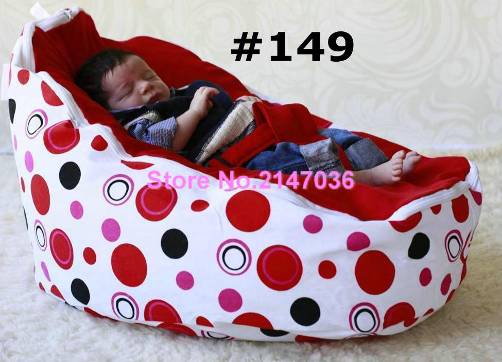 RED DOTS Baby bean bag,Cotton canvas fabric kids bean bag chairs,bean bag sofa for baby sleeping - 2 upper tops все цены