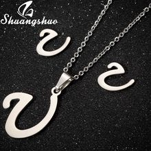 Shuangshuo Latter Necklacae Stud Earrings Jewelry Set For Women Stainless Steel Pendant Necklaces Earrings Jewellery Sets(China)