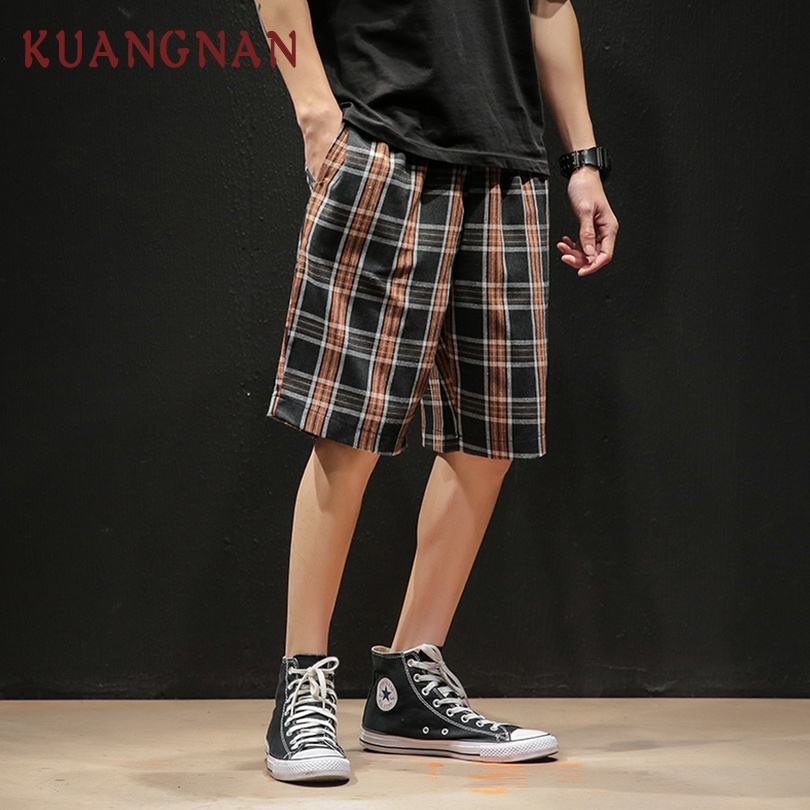 Kuangnan Plaid Knee Length Shorts Men Streetwear Mens Shorts Summer Men Shorts Cotton Man Clothing 5xl 2019 New Arrivals To Have Both The Quality Of Tenacity And Hardness Men's Clothing