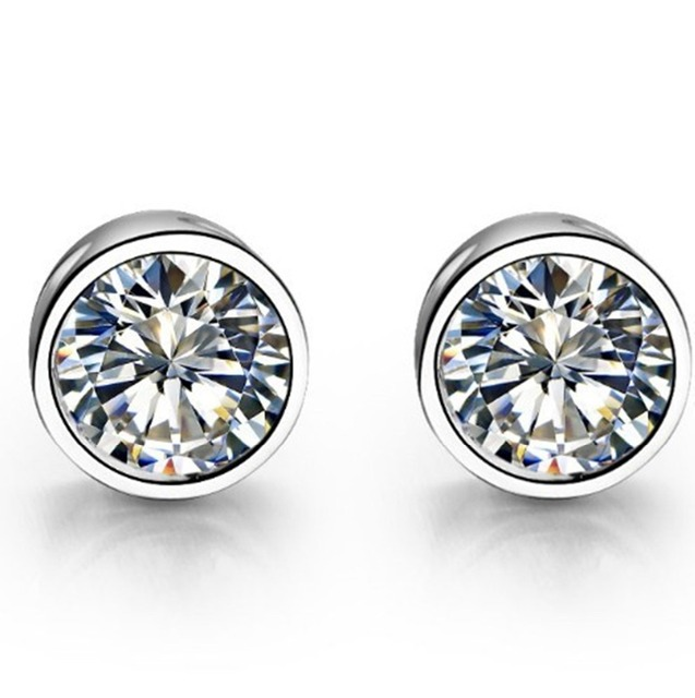 3ee318a44 Solid 14K Fine Jewelry Earrings Round Excellent 1CT/Piece Diamond Solitaire  Stud Earrings G14K White Gold Brand Basket