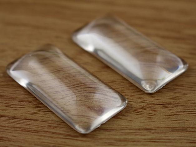 10pcs/lot 19x38mm Rectangle Flat Back Clear Glass Cabochon, High Quality, Lose Money Promotion!!! (Z4-07)