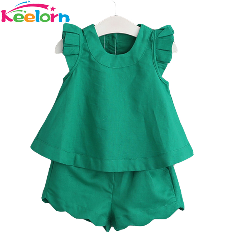Keelorn Girls Clothing Sets Summer Casual Style Girls Clothes O-Neck Sleeveless Solid T-shirt+Shorts 2Pcs Kids Clothing Sets girls tshirt brand hollow sleeveless o neck baby girl shorts solid elastic waist 2 pieces kids clothes girls 2792w