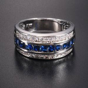 choucong Blue Sapphire Wedding Ring for Men Women