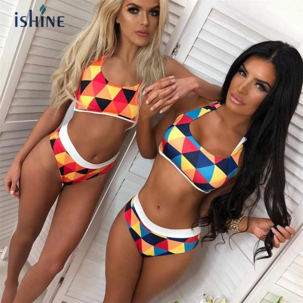 320511aa72 High Waist Women Bikini Sets Sports Biquini Swimwear Tops Shorts Geometric  Print Bathing Suit Swimsuit Push