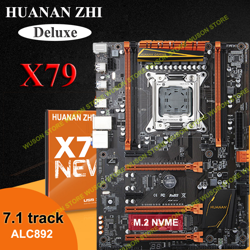 Venta caliente HUANAN ZHI Deluxe X79 motherboard M.2 NVME 3 * PCI-E x16 ranuras 2 * SATA3.0 apoyo 4 * 16G memoria 7,1 sound track crossfire