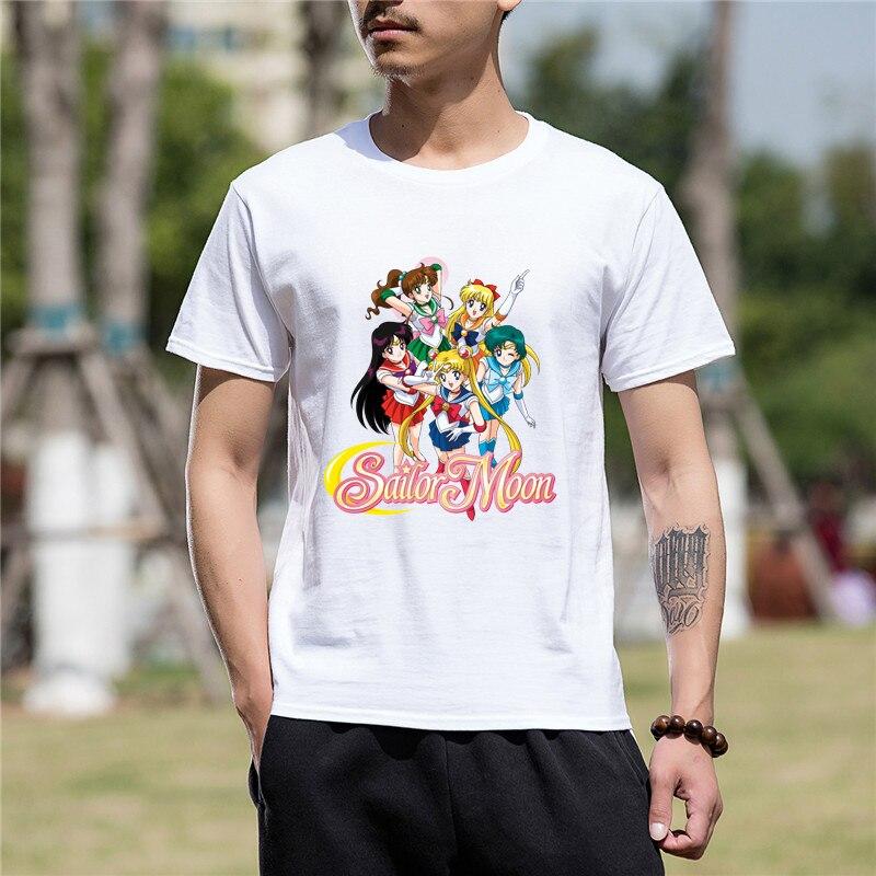 60a9c0bc New Summer Fashion Men Clothes Short Sleeve Men Tshirt Funny Tee Sailor Moon  Print Funny T