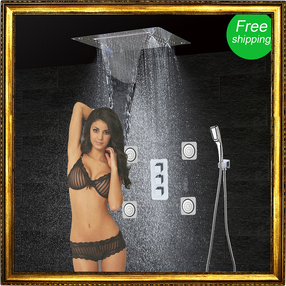 Bathroom Shower Set Accessories Faucet Panel Tap Thermostatic Mixer LED Ceiling Shower Head Rain Waterfall mist Shower CF5326