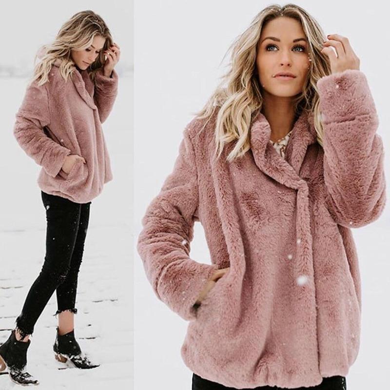 SHIBEVER Fleece   Jacket   Coat Women Female Warm Cotton Veste Femme Pockets Long   Basic     Jacket   Autumn Cardigan Fashion Coats BDR78
