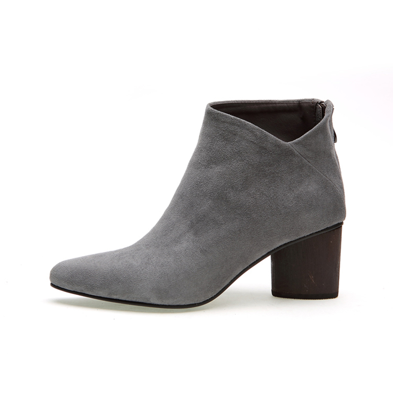 ФОТО New Trendy Suede Womens Sexy Pointy Toe OL Thick Heels Ankle Boots Winter Heels