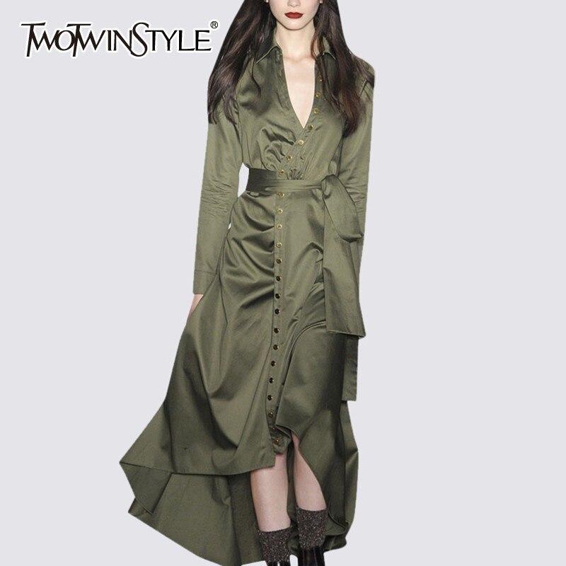 TWOTWINSTYLE vestidos de mujer de las tallas grandes cuello en V de cintura alta de encaje vestido asimétrico de moda femenina para mujer ropa de otoño-in Vestidos from Ropa de mujer    1
