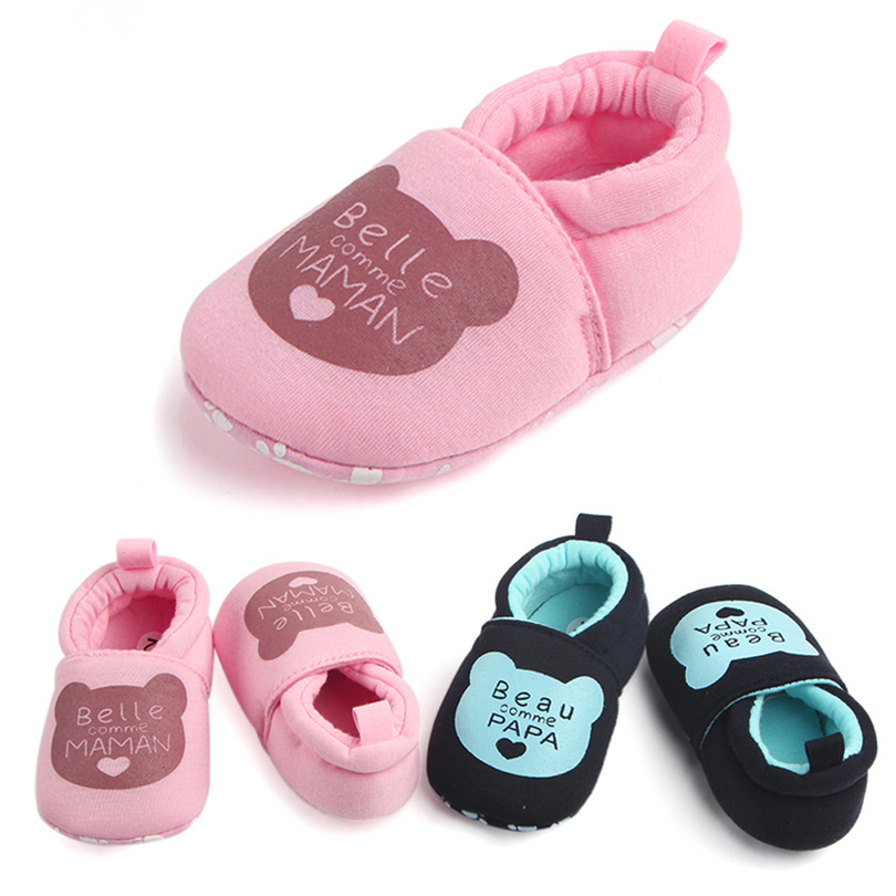 Toddler Baby Boys Girls Shoes Round Toe Letter Printed First Walkers Lovely Soft Sole Non-Slip Flats Shoe For Newborns 3-12M A20