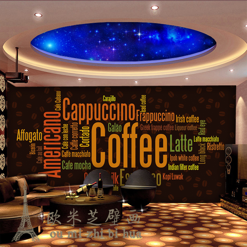 Beibehang Personalized Coffee English Fashion Continental Cafe Backdrop Wallpaper 3D Stereoscopic Creative Wallpaper Mural