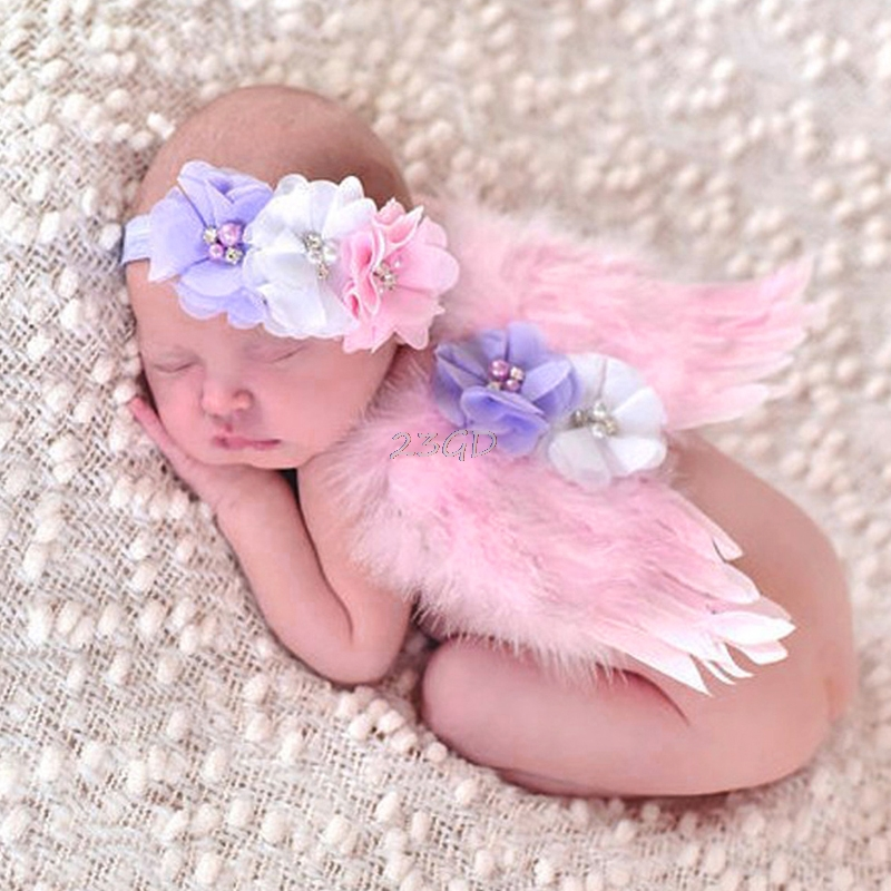 2017 Preety Baby Girls Newborn  Flower Headband+Tutu Skirt Pink Angle Costume Photo Prop Outfit  MAY18_35