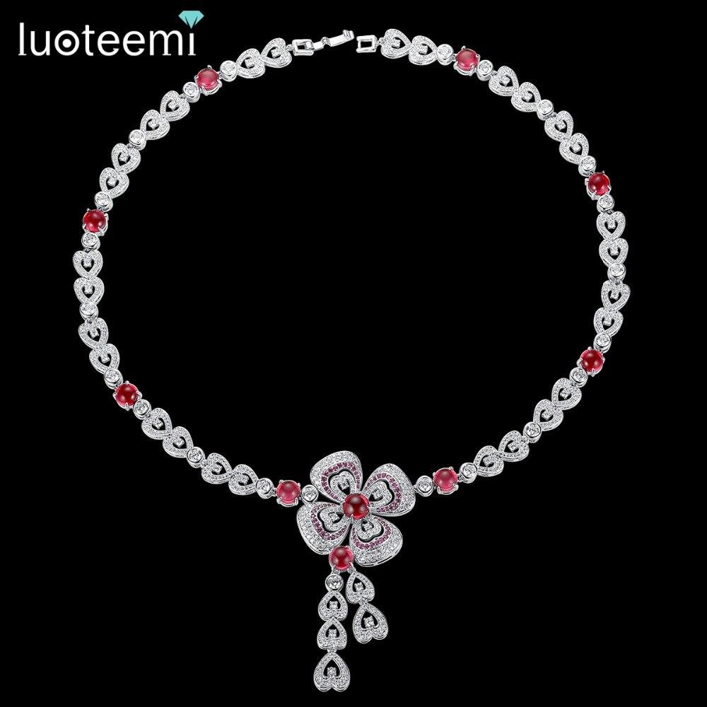 LUOTEEMI AAA Cubic Zirconia Flower Wedding Statement Necklace Jewelry for Bridals Luxury Wedding Jewelry Factory Wholesale
