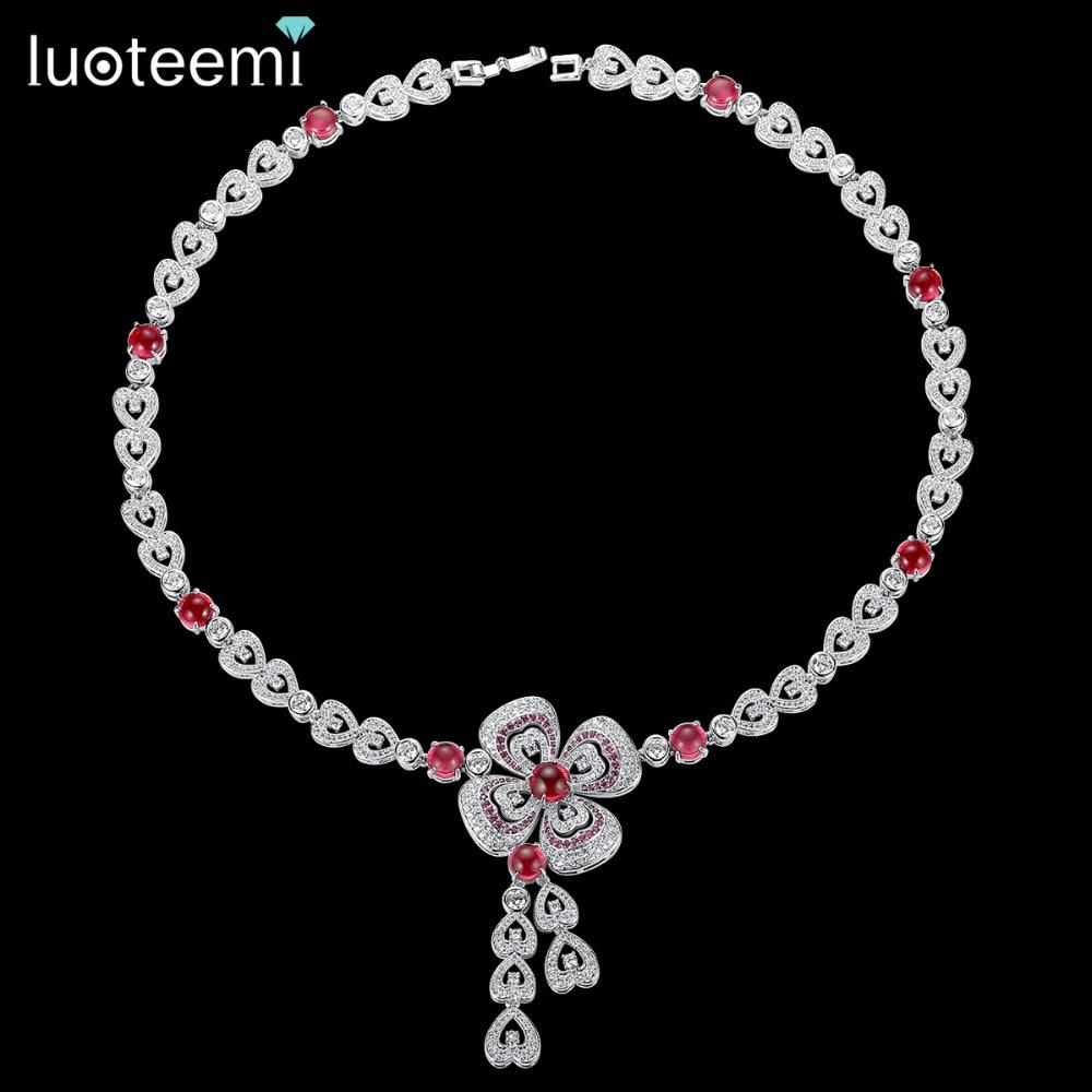 LUOTEEMI AAA cubique zircone fleur déclaration de mariage collier bijoux pour Bridals luxe mariage bijoux usine en gros