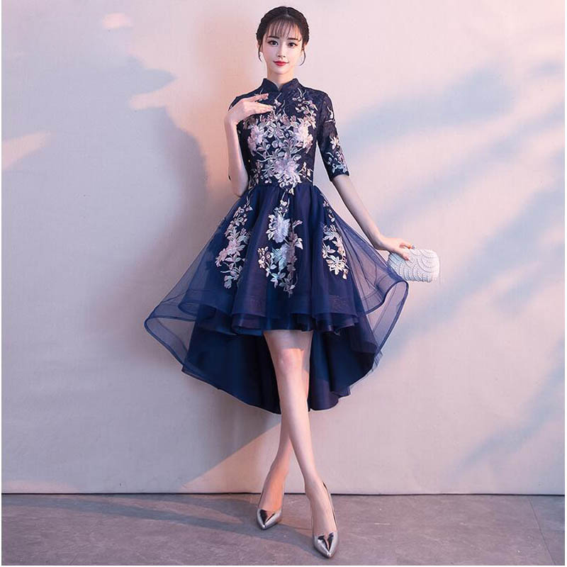 High Neck Fashion Embroidery   Cocktail     Dress   Elegant Half Sleeve Tea-Length Formal   Dress   Party Gown Vestido de   cocktail