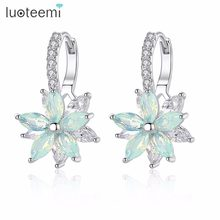 LUOTEEMI Fashion Cubic Zirconia Fancy Crystal Flower Stud Earrings for Women Girls Jewellery Valentine Day Gift Bohemia Bijoux(China)