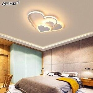 Image 2 - לב Led נברשת אור עבור ילדה חדר שינה Plafond אקריליק תאורת מנורת מודרני חדש מתקן Lampadario Luminaire Lustres